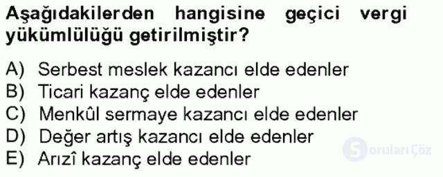 Türk Vergi Sistemi Tek Ders Sınavı 6. Soru