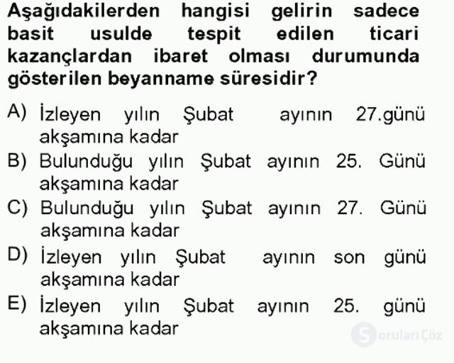 Türk Vergi Sistemi Tek Ders Sınavı 7. Soru