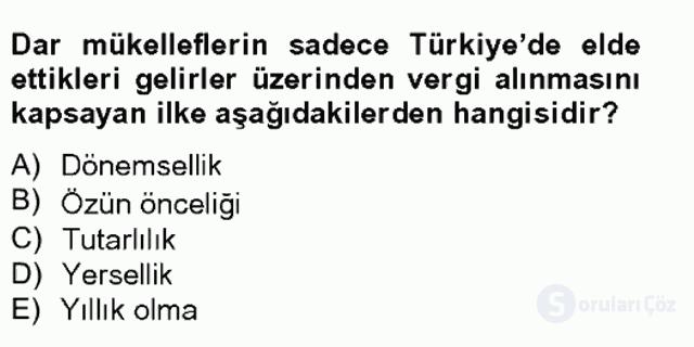 Türk Vergi Sistemi Tek Ders Sınavı 8. Soru