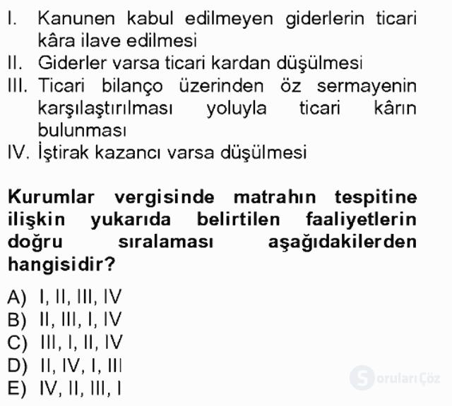 Türk Vergi Sistemi Tek Ders Sınavı 9. Soru