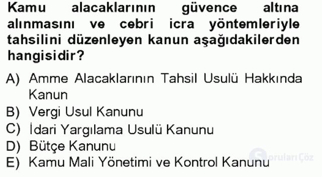 Genel Vergi Hukuku Tek Ders Sınavı 1. Soru