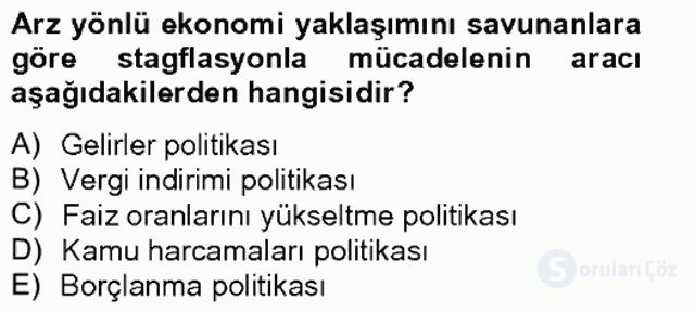 Maliye Politikası I Tek Ders Sınavı 17. Soru