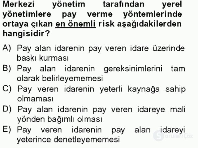 Maliye Politikası II Tek Ders Sınavı 5. Soru