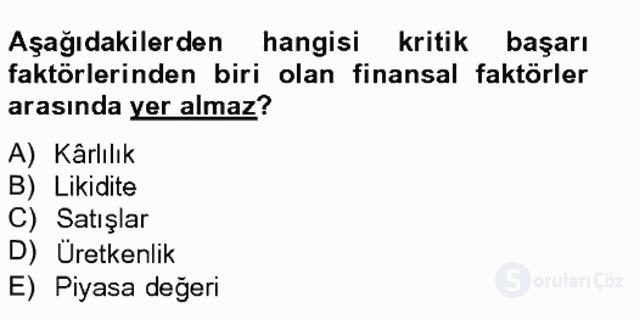 Maliyet Yönetimi Tek Ders Sınavı 14. Soru