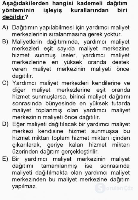 Maliyet Analizleri Tek Ders Sınavı 16. Soru