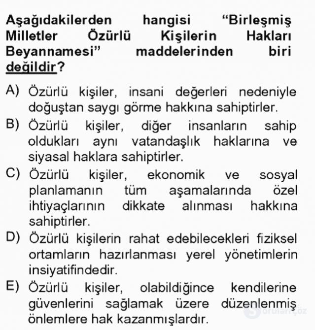 Temel Sağlık Hizmetleri Tek Ders Sınavı 3. Soru