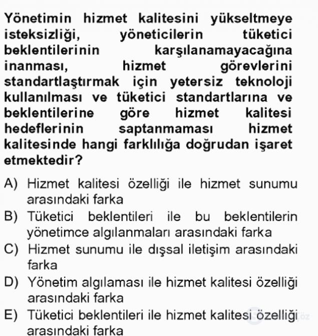 Sosyal Hizmet Yönetimi Tek Ders Sınavı 7. Soru