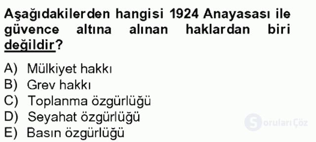 Türk Siyasal Hayatı Tek Ders Sınavı 11. Soru