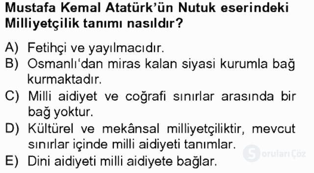 Türk Siyasal Hayatı Tek Ders Sınavı 15. Soru