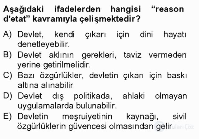 Türk Siyasal Hayatı Tek Ders Sınavı 16. Soru