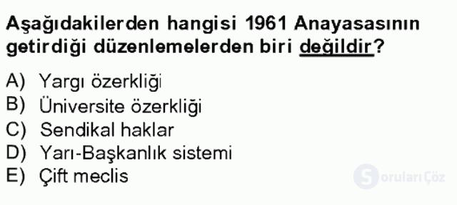 Türk Siyasal Hayatı Tek Ders Sınavı 18. Soru