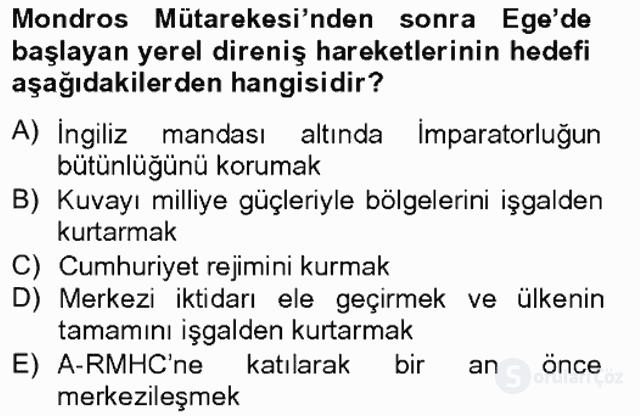 Türk Siyasal Hayatı Tek Ders Sınavı 2. Soru