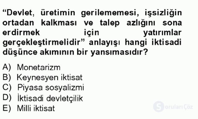 Türk Siyasal Hayatı Tek Ders Sınavı 20. Soru