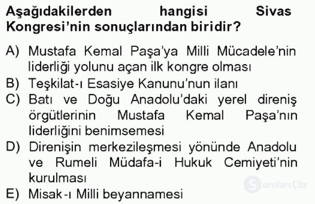 Türk Siyasal Hayatı Tek Ders Sınavı 3. Soru
