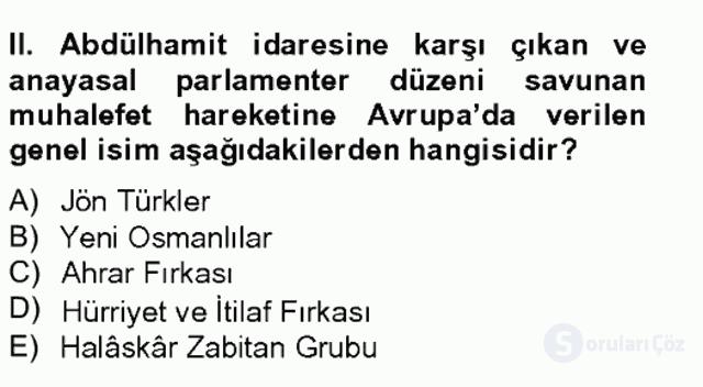 Türk Siyasal Hayatı Tek Ders Sınavı 4. Soru