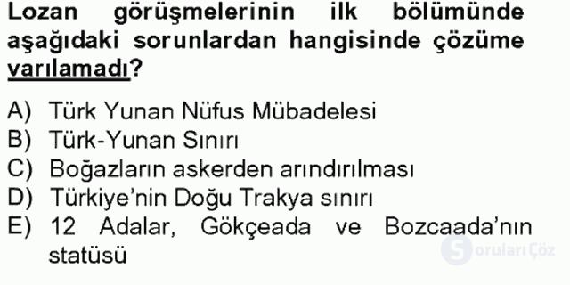 Türk Siyasal Hayatı Tek Ders Sınavı 5. Soru