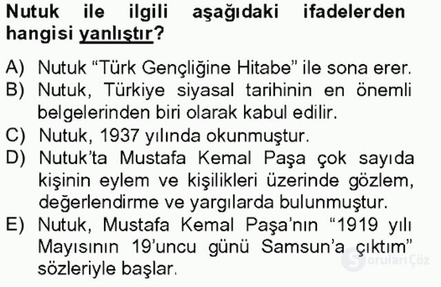 Türk Siyasal Hayatı Tek Ders Sınavı 6. Soru