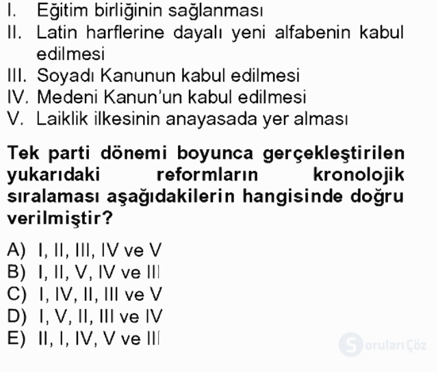 Türk Siyasal Hayatı Tek Ders Sınavı 7. Soru