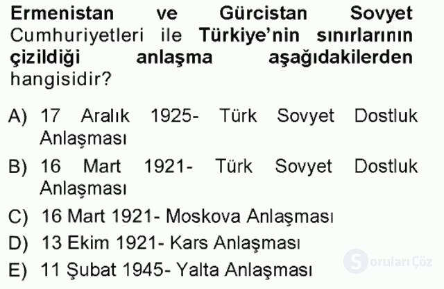 Orta Asya ve Kafkaslarda Siyaset Tek Ders Sınavı 3. Soru