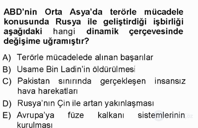 Orta Asya ve Kafkaslarda Siyaset Tek Ders Sınavı 6. Soru