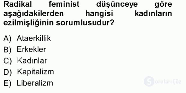 Toplumsal Cinsiyet Sosyolojisi Tek Ders Sınavı 1. Soru