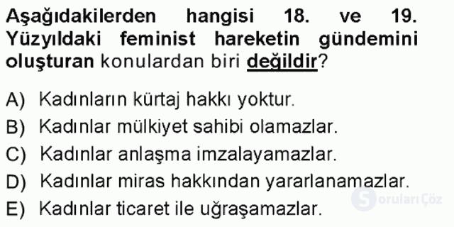 Toplumsal Cinsiyet Sosyolojisi Tek Ders Sınavı 6. Soru