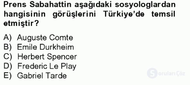 Türk Sosyologları Tek Ders Sınavı 1. Soru