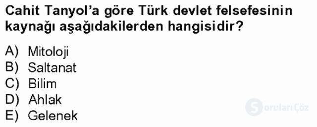 Türk Sosyologları Tek Ders Sınavı 12. Soru