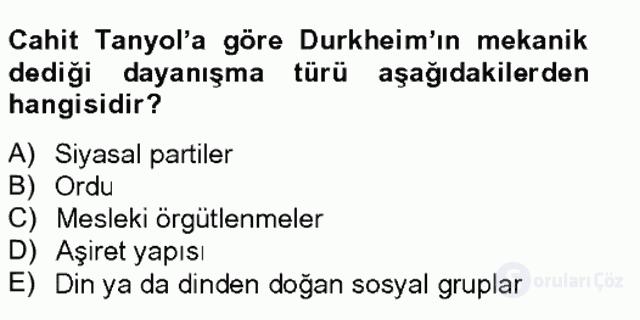 Türk Sosyologları Tek Ders Sınavı 14. Soru