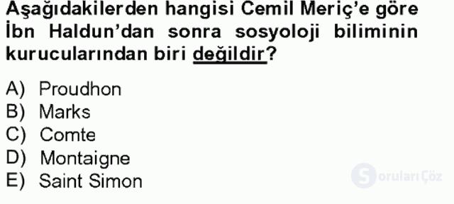 Türk Sosyologları Tek Ders Sınavı 15. Soru