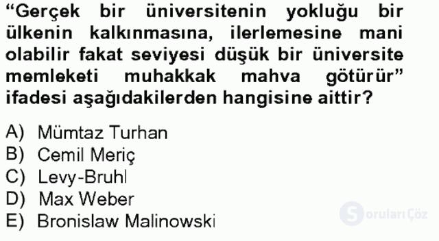Türk Sosyologları Tek Ders Sınavı 16. Soru