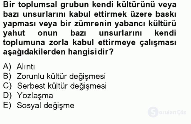 Türk Sosyologları Tek Ders Sınavı 17. Soru