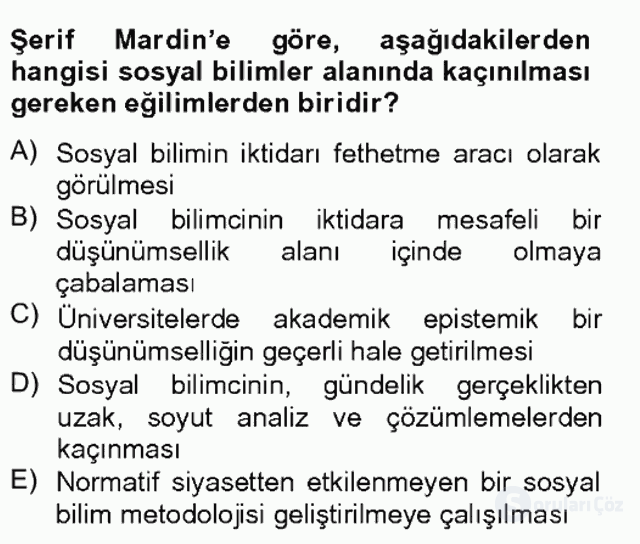 Türk Sosyologları Tek Ders Sınavı 18. Soru