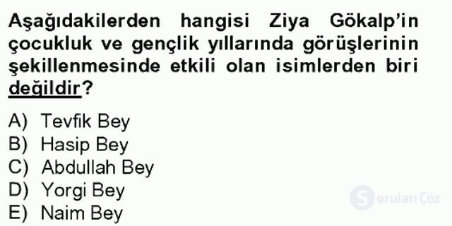 Türk Sosyologları Tek Ders Sınavı 2. Soru
