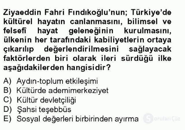 Türk Sosyologları Tek Ders Sınavı 3. Soru