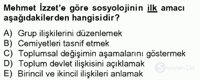 Türk Sosyologları Tek Ders Sınavı 4. Soru