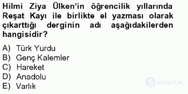Türk Sosyologları Tek Ders Sınavı 8. Soru