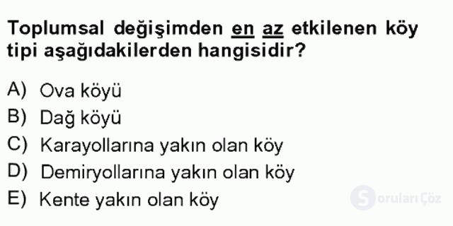 Türkiye'de Sosyoloji Tek Ders Sınavı 10. Soru