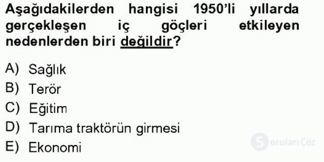 Türkiye'de Sosyoloji Tek Ders Sınavı 11. Soru