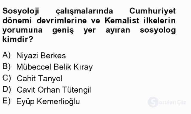 Türkiye'de Sosyoloji Tek Ders Sınavı 12. Soru