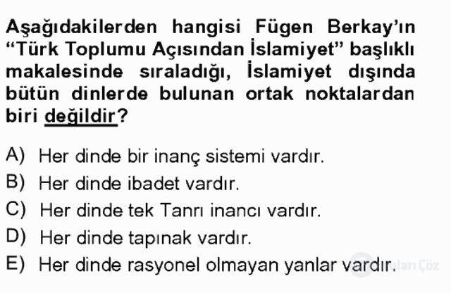 Türkiye'de Sosyoloji Tek Ders Sınavı 13. Soru