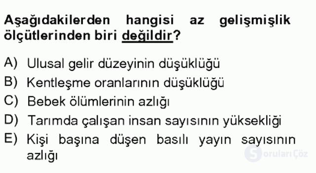 Türkiye'de Sosyoloji Tek Ders Sınavı 14. Soru