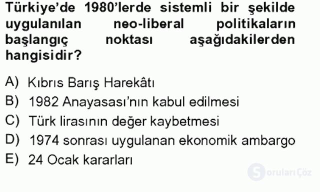 Türkiye'de Sosyoloji Tek Ders Sınavı 15. Soru