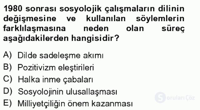 Türkiye'de Sosyoloji Tek Ders Sınavı 16. Soru
