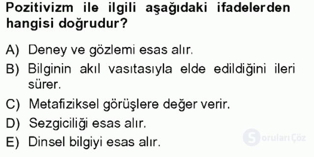 Türkiye'de Sosyoloji Tek Ders Sınavı 2. Soru