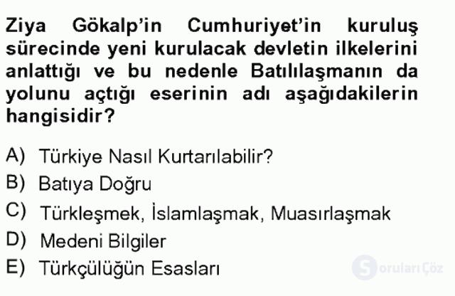Türkiye'de Sosyoloji Tek Ders Sınavı 20. Soru