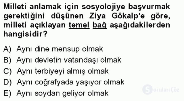 Türkiye'de Sosyoloji Tek Ders Sınavı 4. Soru