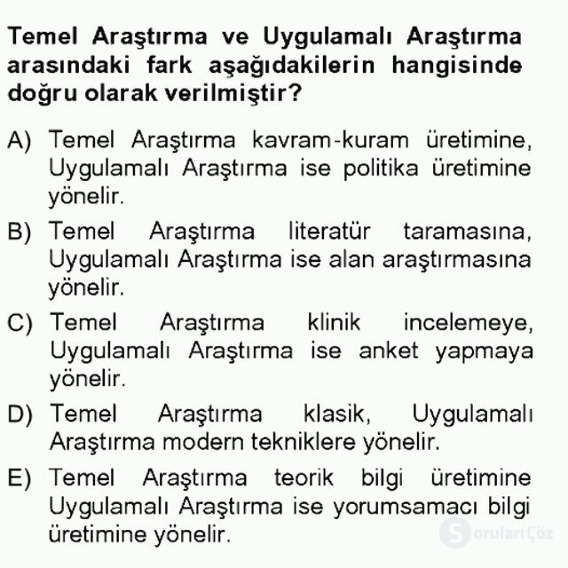 Türkiye'de Sosyoloji Tek Ders Sınavı 5. Soru
