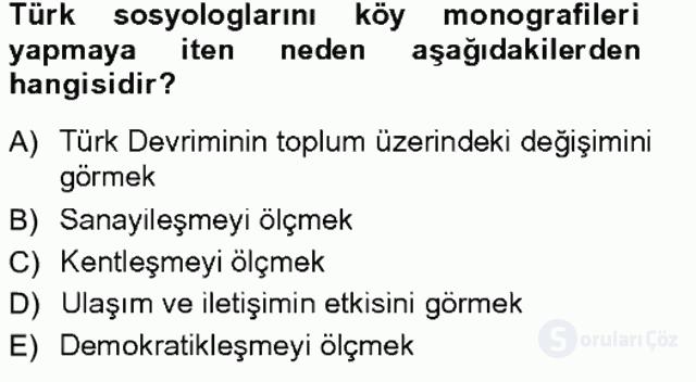 Türkiye'de Sosyoloji Tek Ders Sınavı 7. Soru