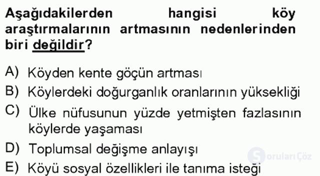 Türkiye'de Sosyoloji Tek Ders Sınavı 9. Soru